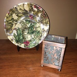 Decor-2 plates with stand and candle/plant holder